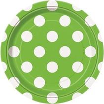 """Lime Polka Dot 7"""" Plate 8 CT"""