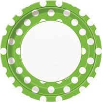 """Lime Polka Dot 9"""" Plate 8 CT"""