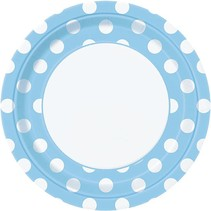 "Lt. Blue Polka Dot 9"" Plate 8 CT"