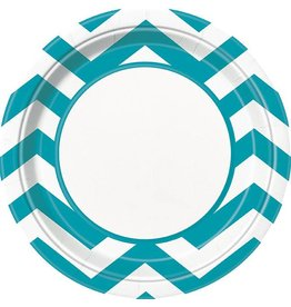 "Teal Chevron 9"" Plate 8 CT"