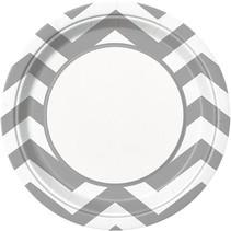 """Silver Chevron 9"""" Plate 8 CT"""