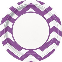 "Purple Chevron 9"" Plate 8 CT"