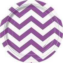 "Purple Chevron 7"" Plate 8 CT"