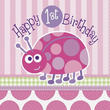 1st Birthday Lady Bug Luncheon Napkin 16 CT