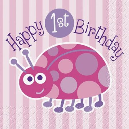 1st Birthday Lady Bug Beverage Napkin 16 CT
