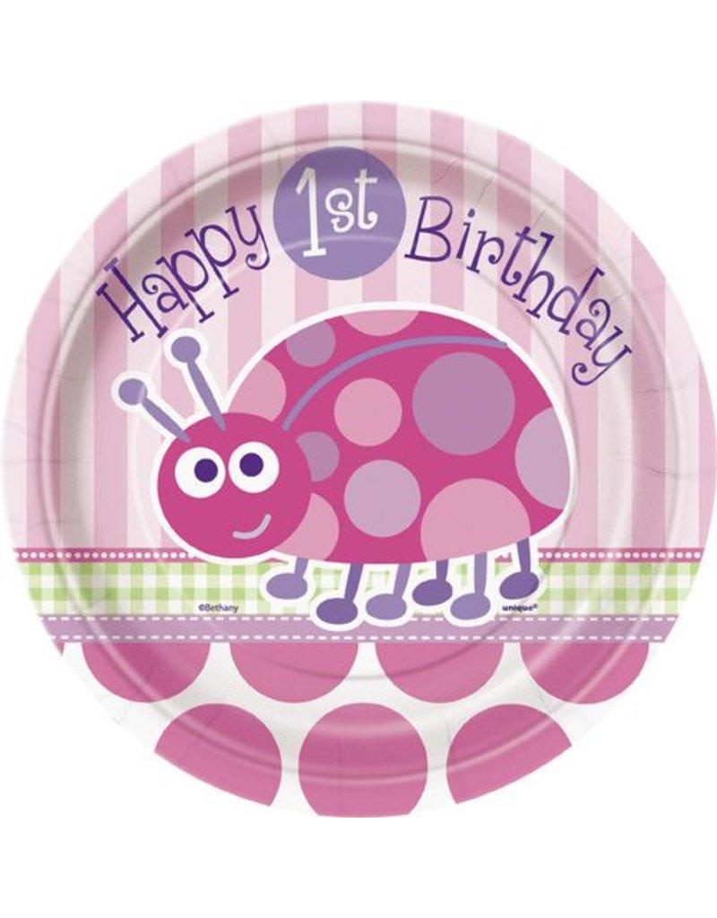 "1st Birthday Lady Bug 7"" Plate"