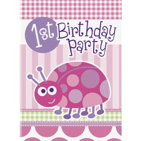 1st Birthday Lady Bug Invitations 8 CT