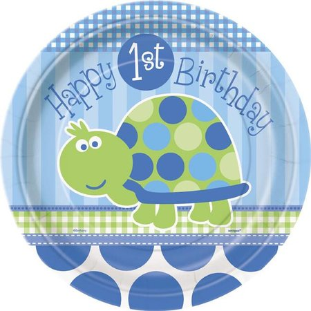 "1st Birthday Turtle 9"" Plate 8 CT"