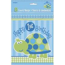 1st Birthday Turtle Loot Bags 8 CT