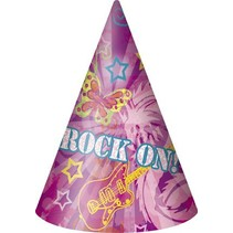 Rock On Party Hats 8 CT