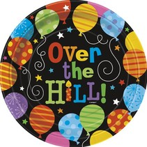 """Over The Hill Balloons 9"""" Plate 8 CT"""