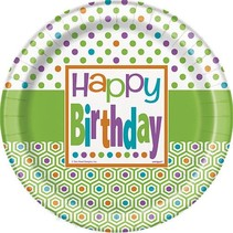 "Birthday Dots 7"" Plate 8 CT"