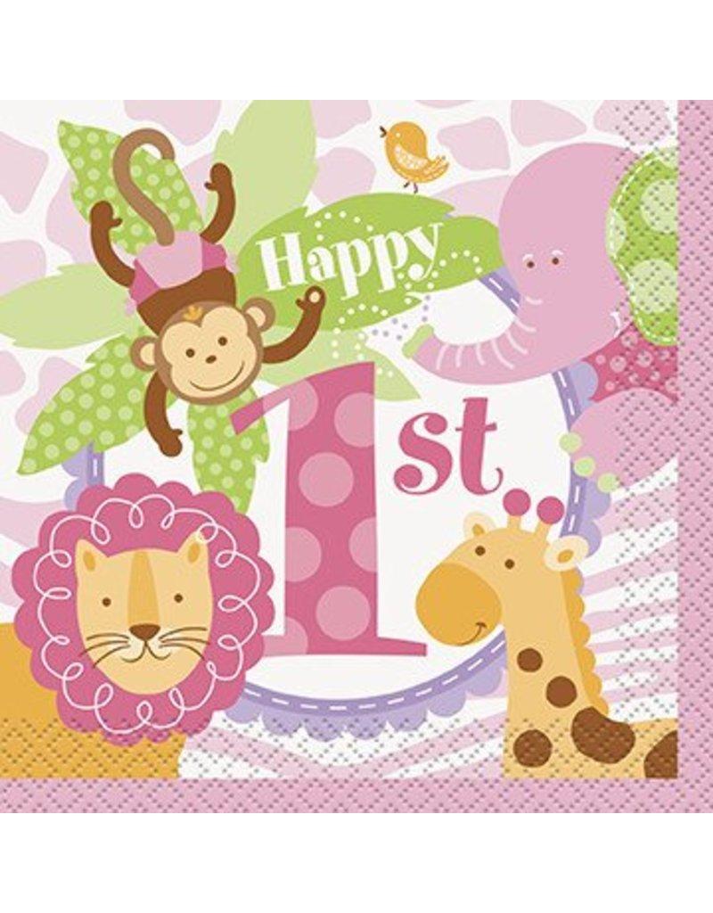 1st Safari Beverage Napkin Pink 24 CT