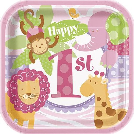 "1st Safari Pink  7"" Plate 10 CT"