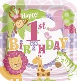"1st Safari Pink  9"" Plate 10 CT"