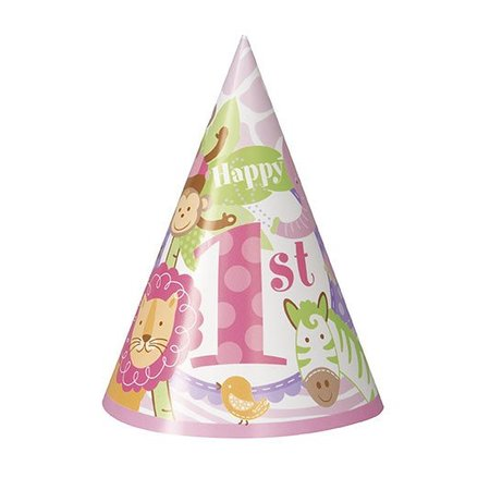 1st Safari Pink Party Hats 8 CT