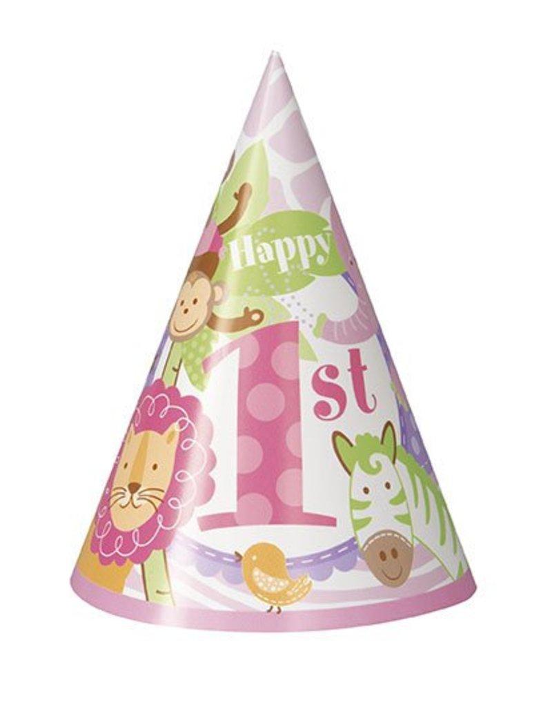 1st Safari Pink Party Hats 8 CT