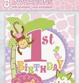 1st Safari Pink Birthday Invitations 8 CT
