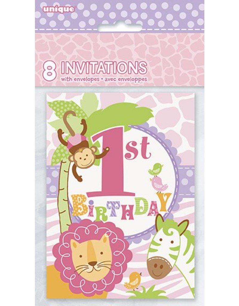 1st Safari Pink Birthday Invitations 8 CT