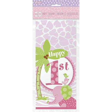 1st Safari Pink Gift Bags 20 CT