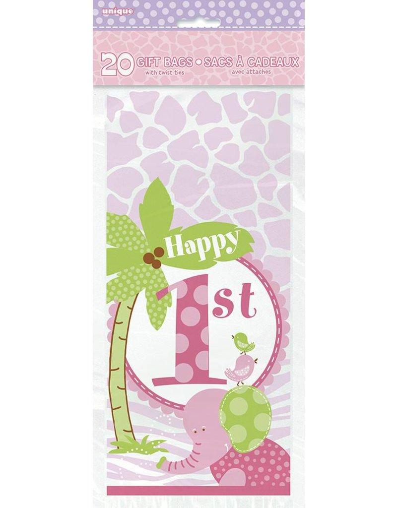 1st Safari Pink Gift Bags 20 CT