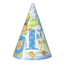 1st Safari Blue Party Hats