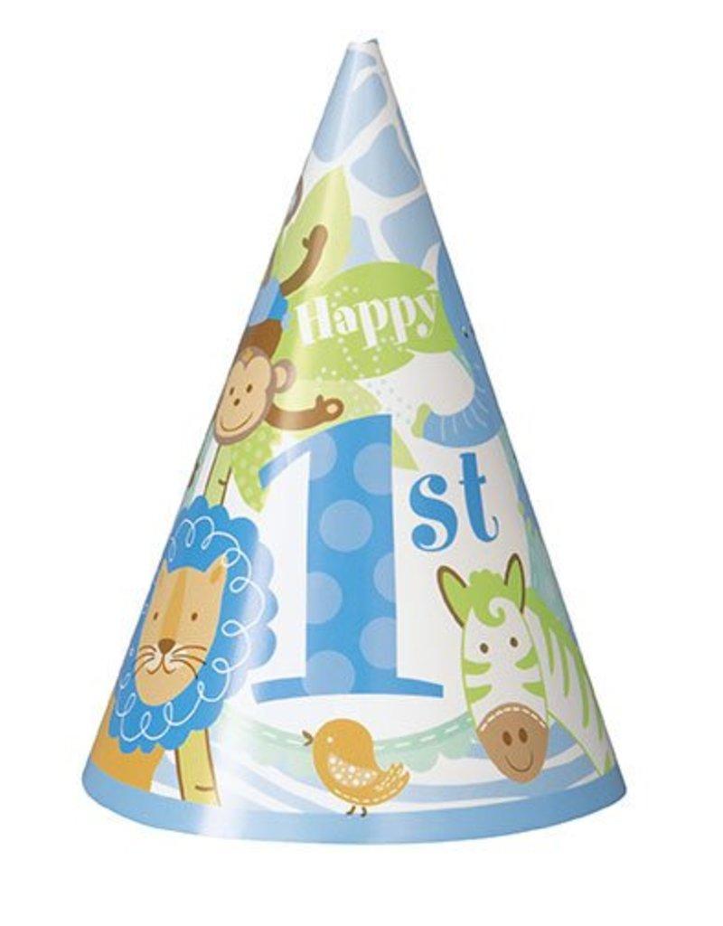 1st Safari Blue Party Hats