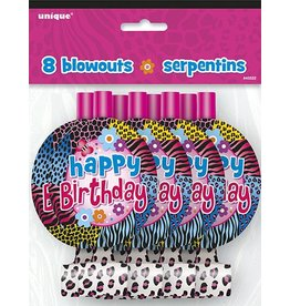 Wild Birthday Party Blowouts 8 CT