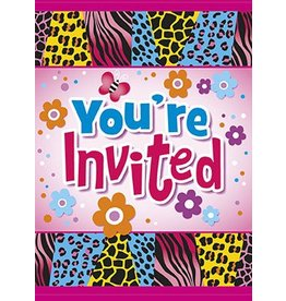 Wild Birthday Party Invitations 8 CT
