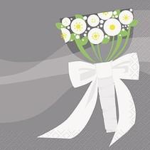 Silver Wedding Beverage Napkin 16 CT