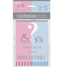 Gender Reveal Invitations 8 CT