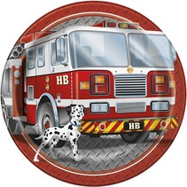 "Fire Truck 9"" Plate 8 CT"