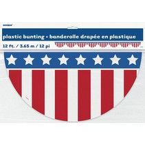 Plastic Red White & Blue Bunting