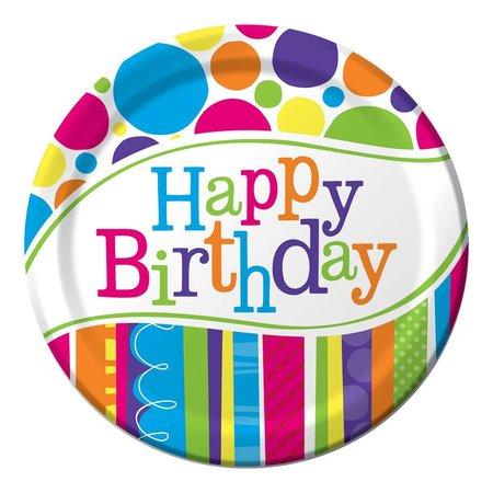 "7"" Plates Bright & Bold Birthday 8 count"