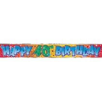 Happy 40th Birthday Banner Metallic 12'