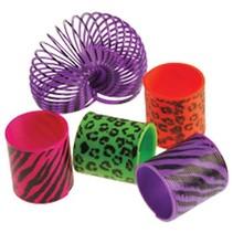 Mini Coil Springs 12 pieces Neon Animal Print