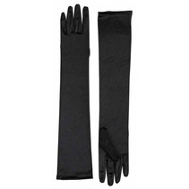Long Satin Gloves Black