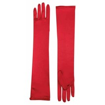 Long Satin Gloves Red