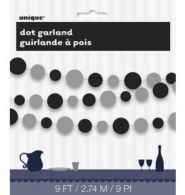 Black Gray Dot Garland