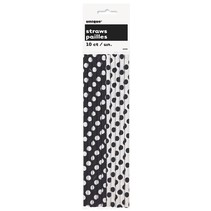 Polka Dot Paper Straws 10ct Black
