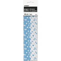 Polka Dot Paper Straws 10ct Lt Blue