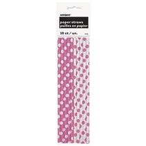 Polka Dot Paper Straws 10ct Hot Pink