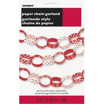 Paper Chain Garland Polka Dot Red