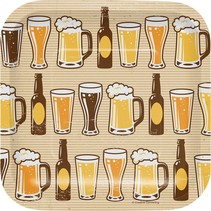 "7"" Square Plates Beers & Cheers"