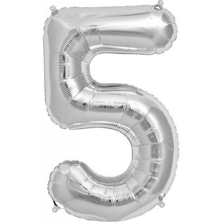 """34"""" Silver Foil 5 Balloon"""