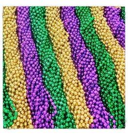 One Dozen Throw Beads Purple-Green-Gold