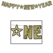 New Year Streamer Black & Gold