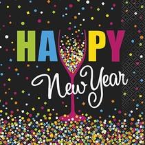 New Year Confetti Luncheon Napkin