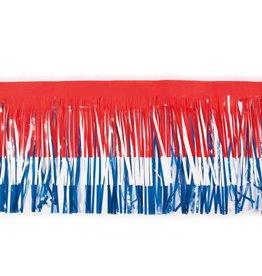 """Vinyl Fringe 15""""x10' Red, White & Blue"""