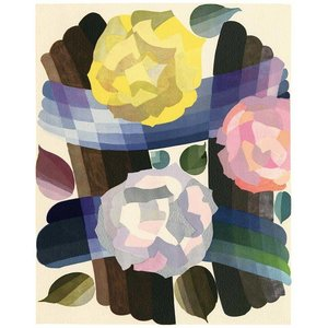 Print on Paper US250 - Deco Roses in Yellow and Pink